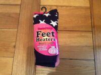 Thermal socks Feet Heaters Tog rating 2.3 UK size 4-8 BNIB