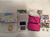 Boxed White New 3DS + Genuine Charger, 2 Games, Sturdy Carry Case and Luigi cover plate