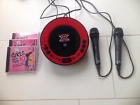 X factor CDG karaoke machine with microphones and cds