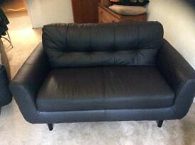 Argos black leather settee and chair