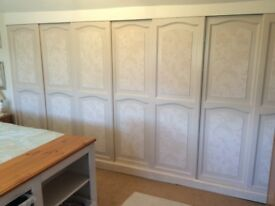 set of sliding wooden wardrobe doors with all runners and track