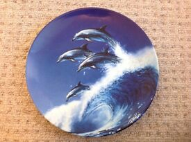 Crashing waves Dolphin plate