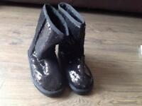 Brand New Girls Sequin Black Boots - size 2