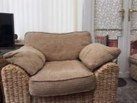 Conservatory ratten sofa and chair with poufe