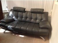 Large 2 and 3 seater leather sofas