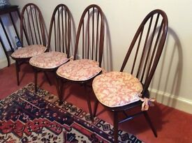 Ercol vintage spindle-back dining chairs , 4 + 2 carvers