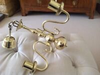 Brass, three armed ceiling light fitting