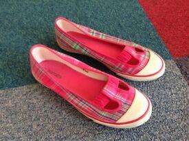 Ladies pink tartan canvas slip on summer shoes Size 5 Barratts