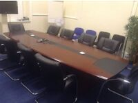 Executive Board Room Table with 10 Comfortable Chairs (Excellent Condition)