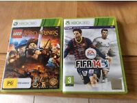 XBOX 360 Games- lord of the rings Lego & Fifa 14