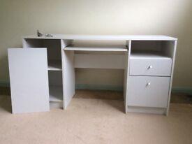 Desk with keyboard shelf and filer