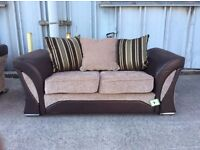 Chunky Brown 2 Seat Sofa with Chrome Feet - £149 Including Free Local Delivery