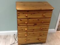 Solid Pine bedroom furniture, 2 bedside lockers, chest of 5 drawers and headboard