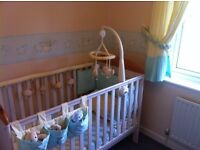 White Cot Bed with wipeable breathable mattress - complete with instructions, £45