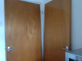 Doors, internal. Stained and varnished, includes handles and hinges.