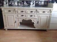 Beautiful antique cream shabby chic/ antiqued/ distressed sideboard
