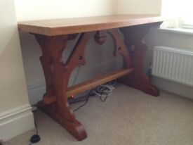 Solid Pitch Pine table. Could be dining table or desk