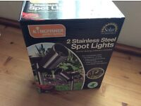2 pack stainless steel spot lights . I have 4 packs of two available . Never even been out of box