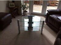 Three shelf glass and chrome TV stand