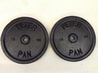 2 x 10kg Peter Pan Standard Cast Iron Weights