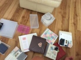Bundle of scrap booking photo albums and craft boxes
