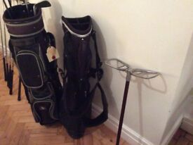 For sale left handed golf clubs , bags ,shooting stick
