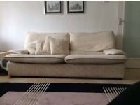 Large cream 2 seater sofa and armchair