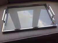 Glass and metal tray