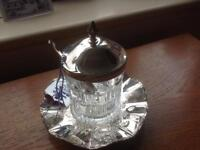 Glass jam pot with silver plate top, spoon and stand