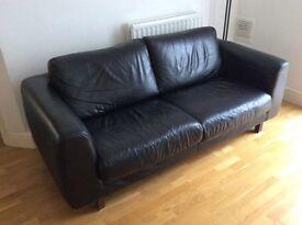 Habitat black leather 3 seater sofa