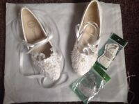 Handmade white leather patent bridal shoes