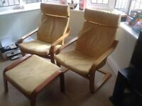 Two IKEA suede chairs and foot stool