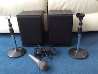 JPW Gold Monitor Speakers and JVC Microphone with Stands