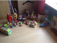 Fire engine, fire station, boats, trucks, house etc