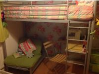 Metal high sleeper, with desk, futon and chair