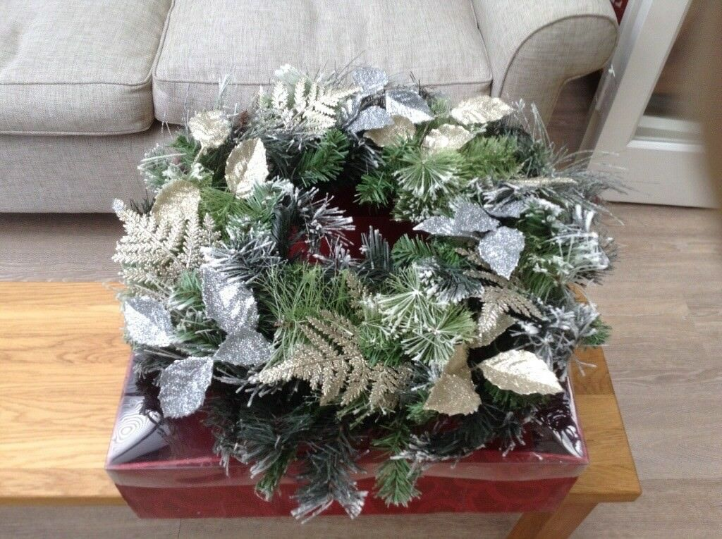 Luxurious foliage artificial Christmas wreath by Laura Ashley,with metallic leaves, virtually unused