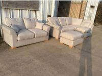 Silver Corner Sofa with Detachable Footstool Plus 2 Seat Sofa - New - £699 Inc Free Local Delivery