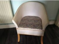 Commode basket weave chair, excellent condition, stylish seat cover, blends in with room furniture