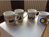 Set of Edward Monkton mugs x 4