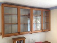 Glass doored wall display cabinet x2