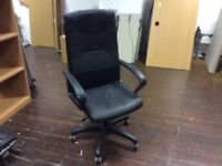 Black Leather Style Swivel Chair