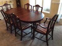 Beresford & Hicks Vintage Mahogany Dining Table & 6 Chairs