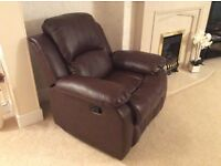 leatherette 3seater static sofa and matching mechanical reclining armchair