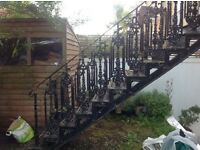 ANtique Victorian garden stairs, wrought iron and very ornate .