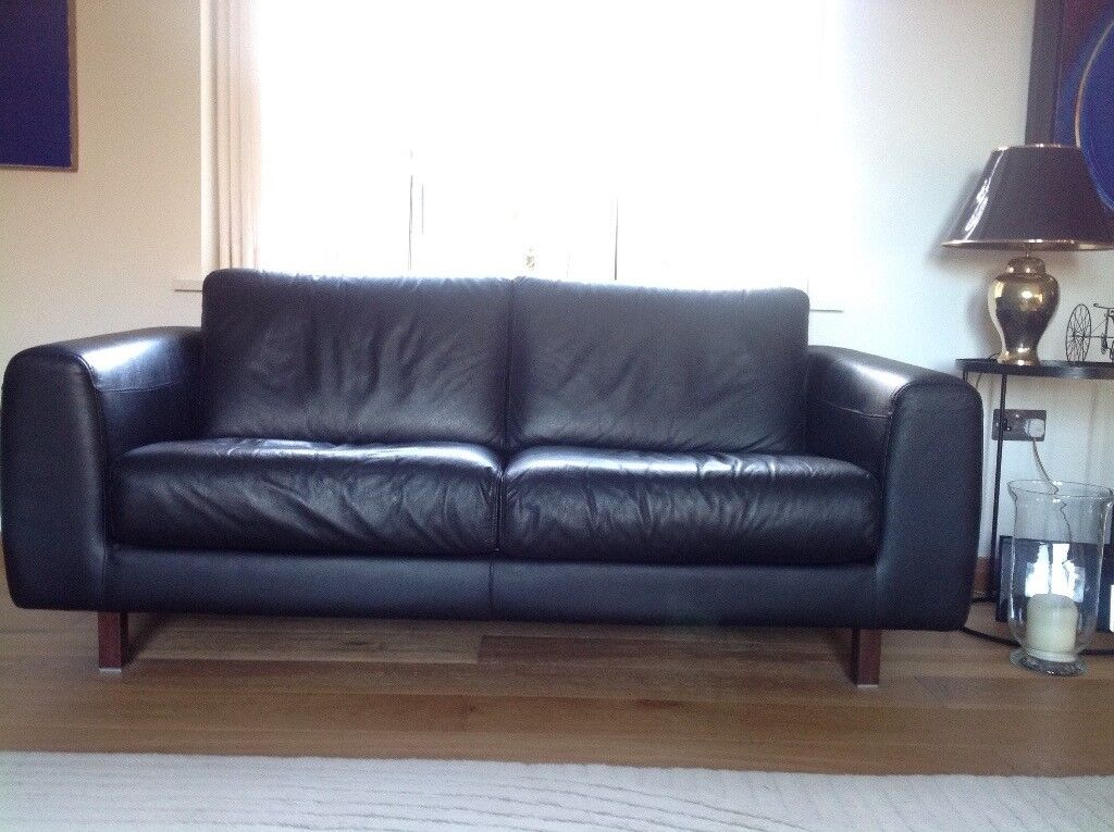 Black leather Habitat sofa