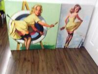 Retro canvas pinup art for sale