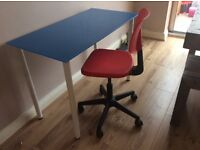 Modern glass top older child / Teen desk, blue & white with red office chair