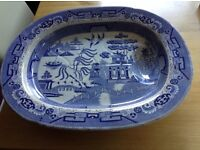 Antique Victorian large willow pattern meat plate pattern in excellent condition