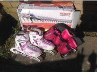 Roces girls in line skates size 1.5 - 3.5 and pads