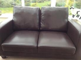 Brown 2 Seater Faux Leather Sofa